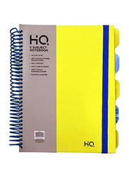 Navneet HQ Plastic Spiral 5 Subject Book, 10.5 x 8inch, 150 Sheets, Yellow