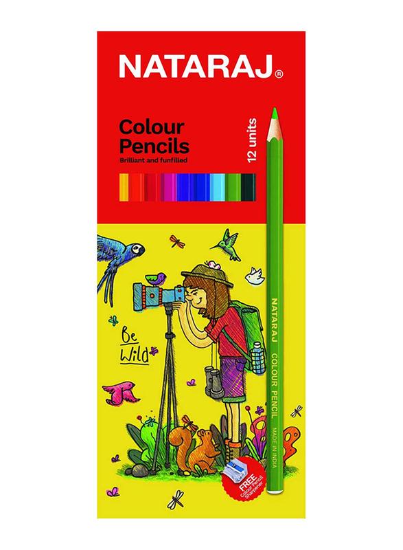Nataraj Full Size Colour Pencil with Sharpener, 12 Piece, Multicolour