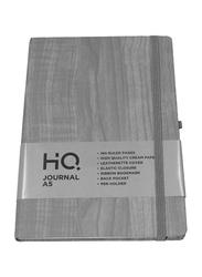 Navneet HQ Journal Casebound Wooden Texture Notebook, 80 Sheets, A5 Size, Light Grey