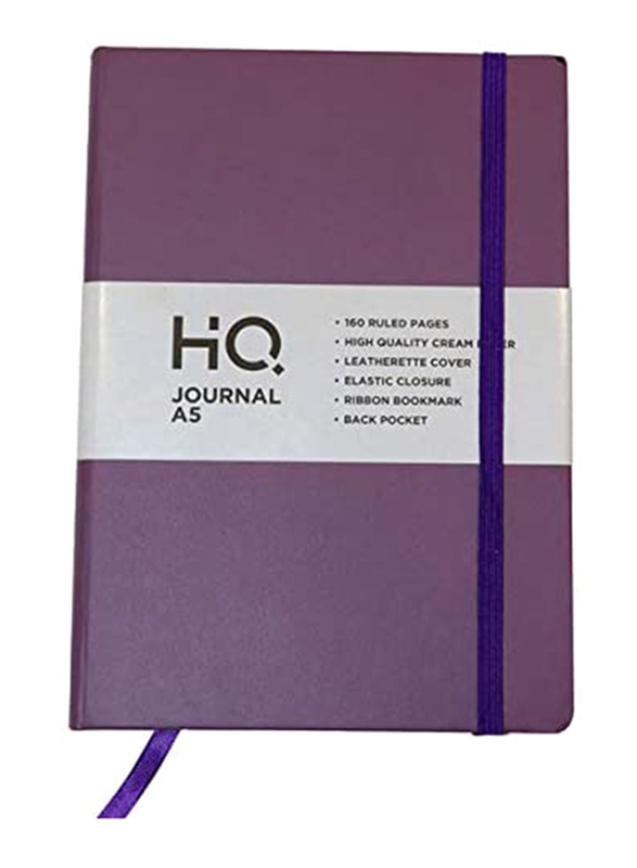 Navneet HQ Journal Casebound Solid Vinyl Finish Notebook, 80 Sheets, A5 Size, Purple
