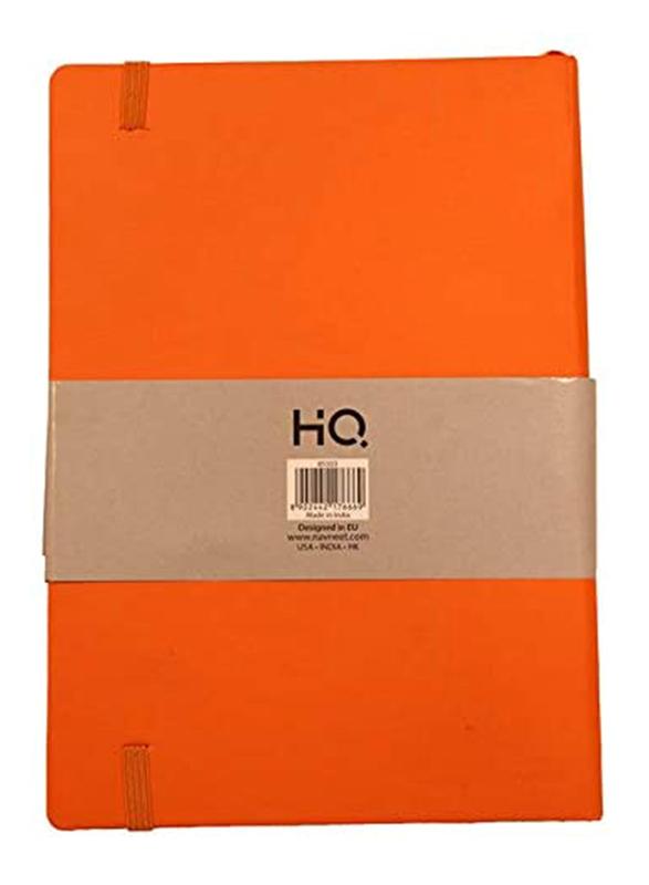 Navneet HQ Journal Casebound Solid Vinyl Finish Notebook, 80 Sheets, A5 Size, Orange