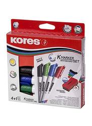 Kores 5-Piece K-Marker XW2 Whiteboard Marker Set with Magnetic Eraser/Chisel Tip, Multicolour