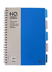 Navneet HQ Poly 5 Subject Wiro Notebook, 150 Sheets, A4 Size, Blue