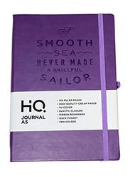 Navneet HQ Journal Casebound PU Notebook, 96 Sheets, A5 Size, Purple