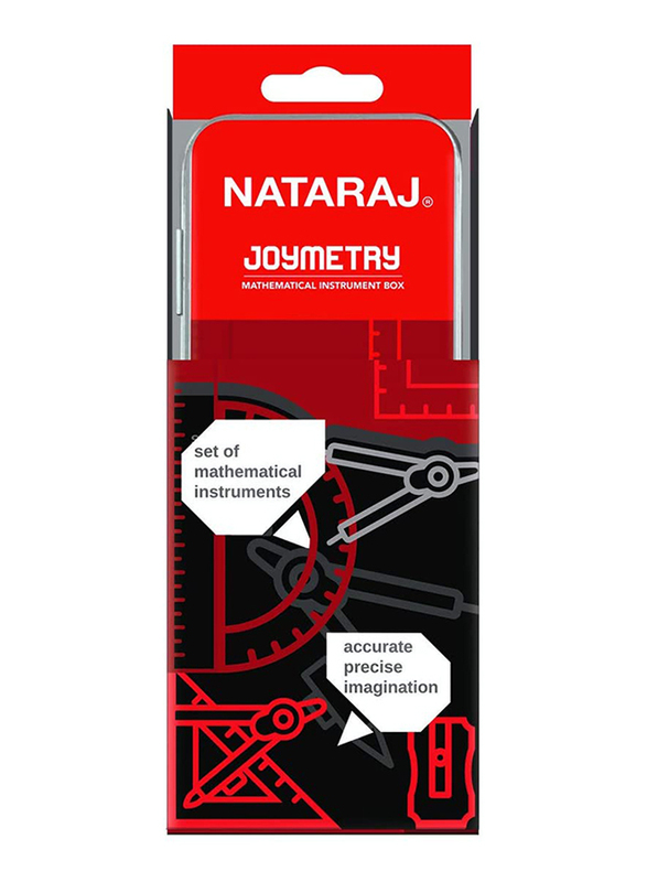 Nataraj 9-Piece Joymetry Mathematical Instrument Box, Red
