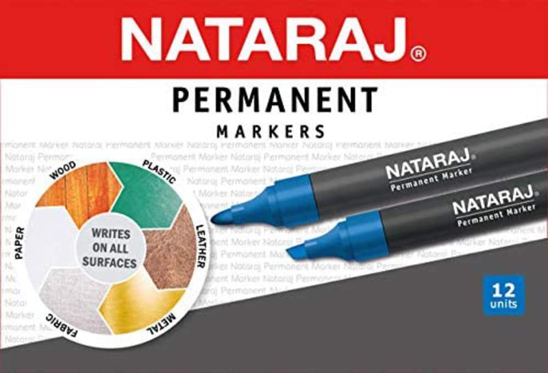Nataraj 12-Piece Bullet Tip Permanent Marker, 2mm, Blue