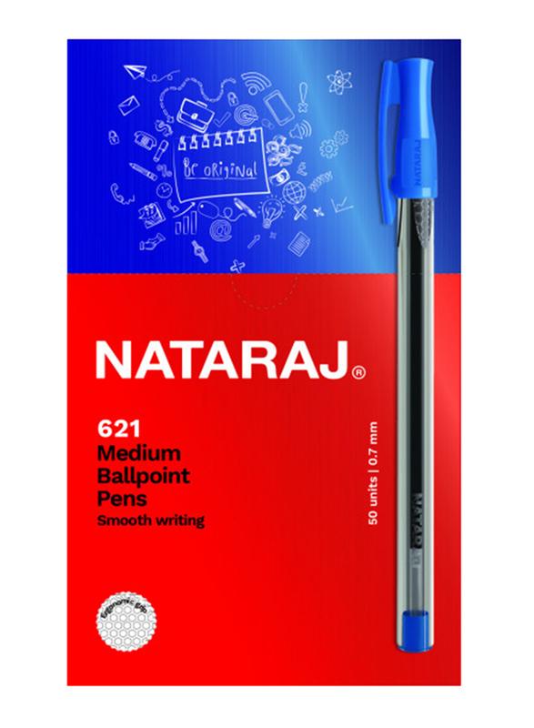 Nataraj 50-Piece 621 Medium Ballpoint Pen Set, 1mm, Blue