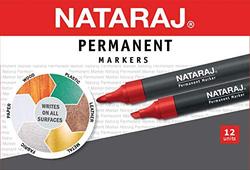 Nataraj 12-Piece Chisel Tip Permanent Marker, 2.5mm, Red