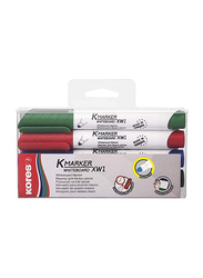 Kores 4-Piece K-Marker XW2 Chisel Tip Whiteboard Marker, Multicolours