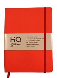 Navneet HQ Journal Casebound Solid Vinyl Finish Notebook, 80 Sheets, A5 Size, Red