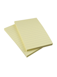 Kores Sticky Lined Notes Pad, 15 x 10cm, 100 Sheets, Canary Yellow