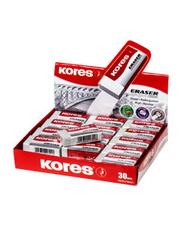 Kores 30-Piece KE-30 Paper Sleeved PVC Eraser, White