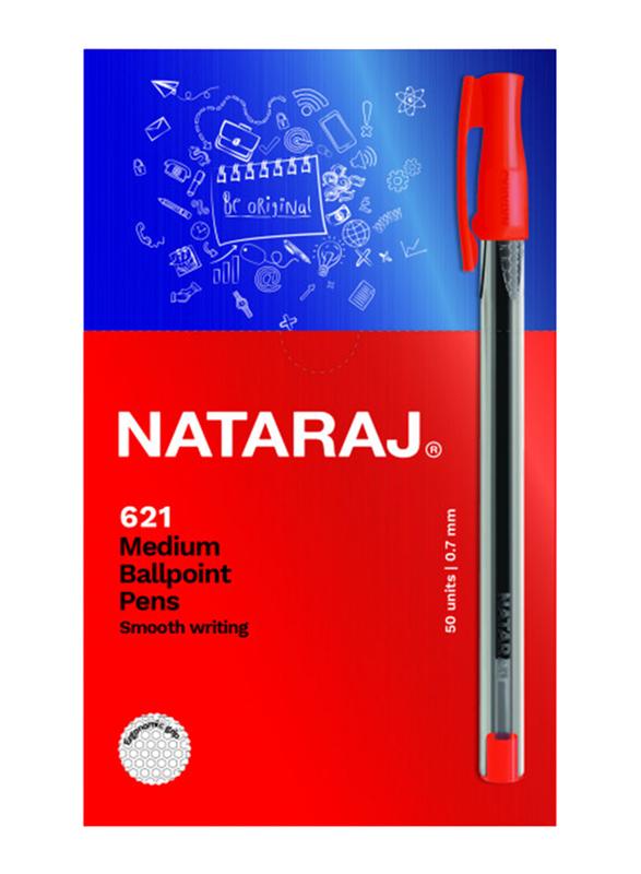 Nataraj 50-Piece 621 Medium Ballpoint Pen Set, 1mm, Red
