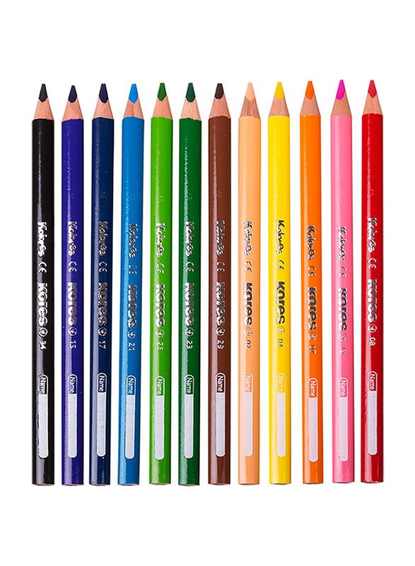 Kores Kolores Jumbo Triangular Colour Pencils, 12 Piece, Multicolour