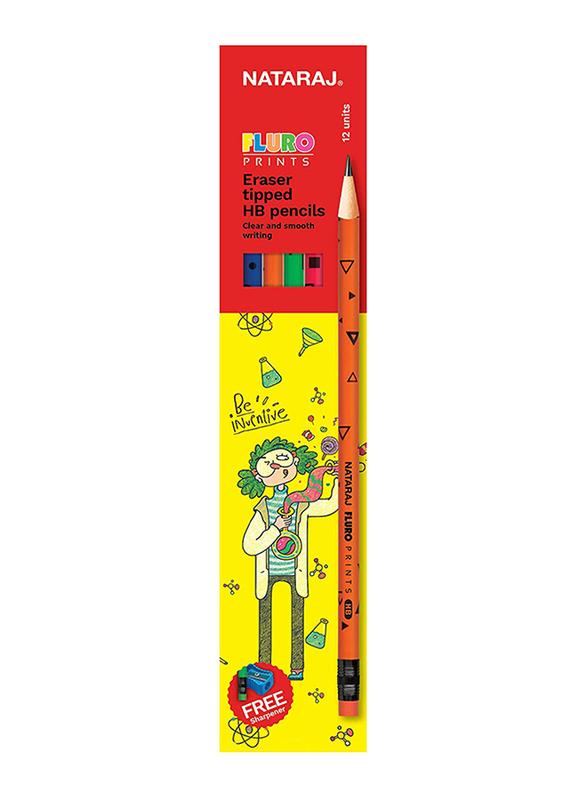 Nataraj 12-Piece Fluro Print Round Pencil Set with Rubber Tip, Multicolour