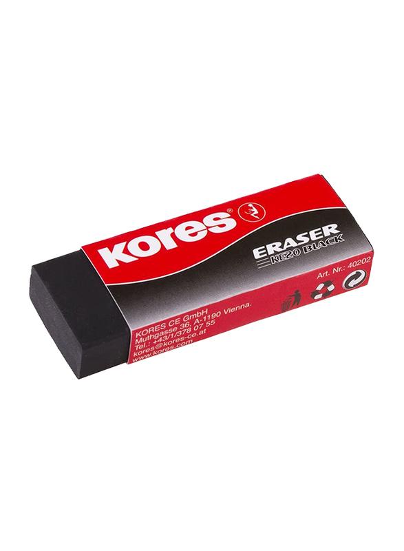 Kores 2-Piece KE-20 Paper Sleeved PVC Eraser, Black