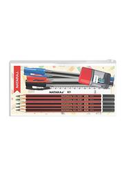 Nataraj 621 5-Piece Pencil + 15cm Scale + 621 Pen + Iflip Sharpener School Pouch Set, Multicolour