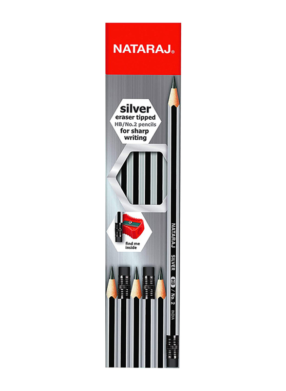 Nataraj 12-Piece Hex HB Silver Pencil Set with Rubber Tip and Sharpener, Silver