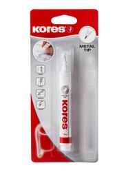 Kores Metal Tip Correction Fluid Pen with Fine Needle Point, White