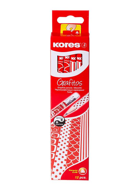 Kores 12-Piece Grafitos HB Soft Triangular Graphite Pencil, Red/White