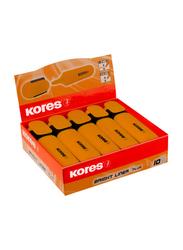 Kores 10-Piece Bright Liner Highlighter Pen with 0.5-5mm Chisel Tip, Orange
