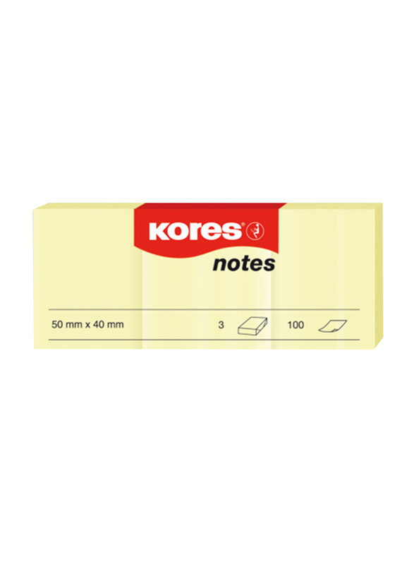 Kores Sticky Notes, 5 x 4cm, 3 Pads x 100 Sheets, Yellow