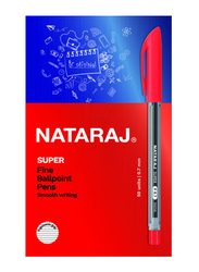 Nataraj 50-Piece Super Fine Ballpoint Pen Set, 0.7mm, Red