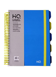 Navneet HQ Plastic Spiral 5 Subject Book, 10.5 x 8inch, 150 Sheets, Blue