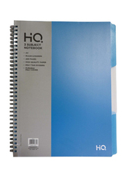 Navneet HQ Poly 3 Subject Notebook, 100 Sheets, A4 Size, Blue