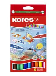 Kores Korellos 2-in-1 Fibre Felt Double Ended Tip Pen, 10 Piece, Multicolour