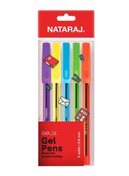 Nataraj 5-Piece Gelix Gel Pens Set, 0.6mm, Multicolour
