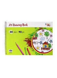 Navneet A4 Spiral Drawing Book, 20 Sheets, 90 GSM, Green