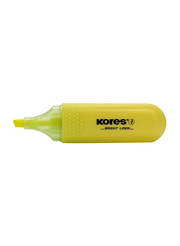 Kores 10-Piece Bright Liner Highlighter Pen with 0.5-5mm Chisel Tip, Yellow