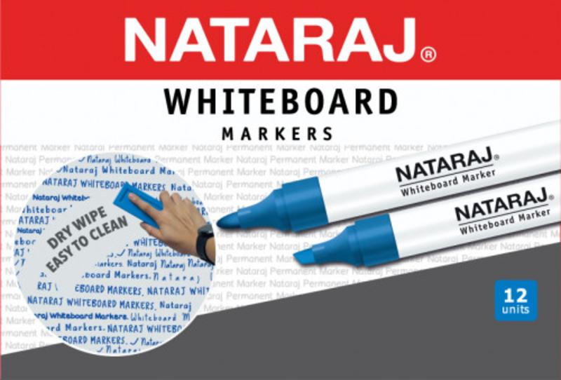 Nataraj 12-Piece Bullet Tip White Board Marker, 2mm, Blue