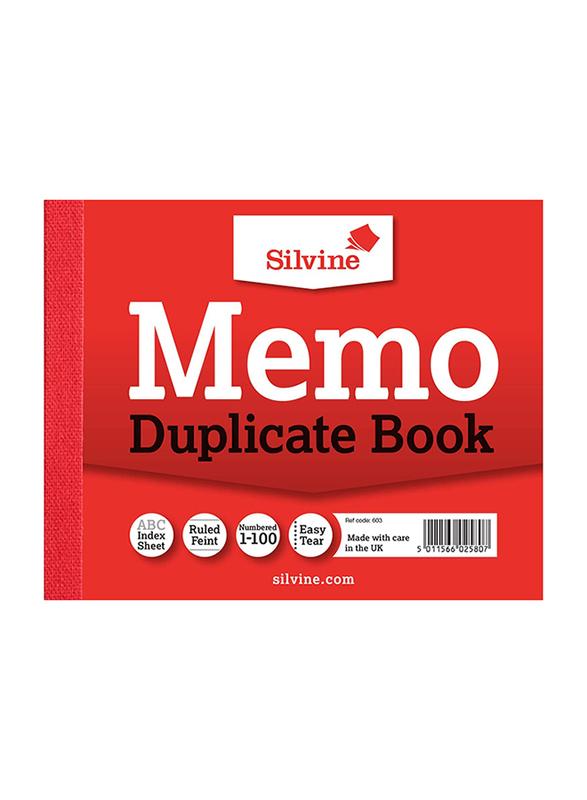 Silvine Duplicate Memo Book, 10.2 x 12.7cm, 100 Sheets, White