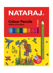 Nataraj Half Size Colour Pencil with Sharpener, 12 Piece, Multicolour
