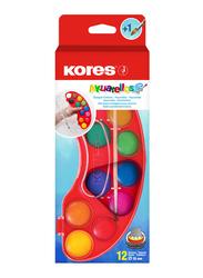 Kores Akuarellos Watercolour Mixing Palette, 30mm Pads, 12 Colours, Multicolour