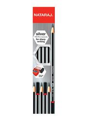 Nataraj 12-Piece HB No. 2 Silver Pencil without Tip, Silver/Black
