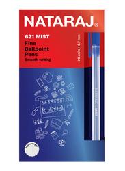 Nataraj 20-Piece 621 Mist Fine Ballpoint Pen Set, 0.7mm, Blue