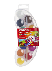 Kores Akuarellos Watercolour Paint Mixing Palette with 12 Colours, 25mm Pads, Clear