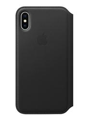 Apple Leather Folio for Apple iPhone X Mobile Phone, Black