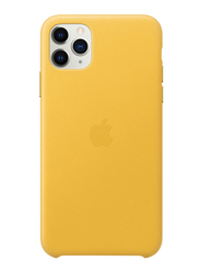Apple Leather Back Case Cover for Apple iPhone 11 Pro Max Mobile Phone, Meyer Lemon