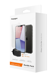 Spigen Apple iPhone 12 Pro Max Mobile Phone Clear Case Cover with Tempered Glass and 27W Wall Charger Bundle, Black/Clear
