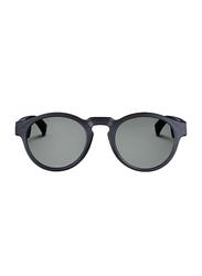 Bose Rondo Full-Rim Round Black Frame Sunglasses Unisex, Grey Lens, 49.5/15.4/154