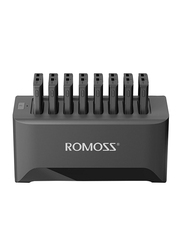 Romoss 10000mAH 8 in 1 Portable Charging Station, with Built-In Cable Power Bank, Black