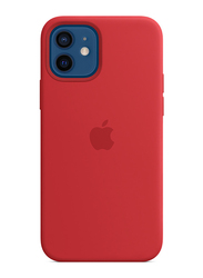 Apple Silicone Case Cover with Magsafe for Apple iPhone 12/12 Pro Mobile Phone, Red