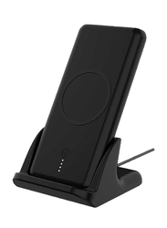 Powerology 10000mAh 2-in-1 Fast Wireless Charging Power Bank with Lighting and Type-C USB Input, Black