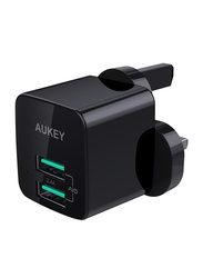 Aukey PA-U32 Universal AiPower Mini Dual Port Portable Travel Charger, 12W, Black