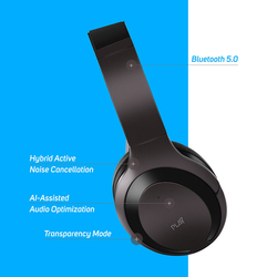 Play Go BH70 AI Based Wireless Over-Ear Hybrid Active Noise Cancelling Headphones with Mic, Medallion Brown