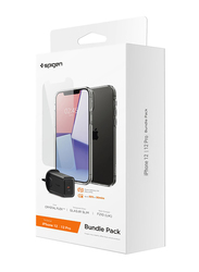 Spigen Apple iPhone 12/12 Pro Mobile Phone Clear Case Cover with Tempered Glass and 27W Wall Charger Bundle, Black/Clear
